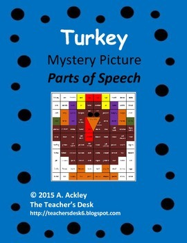 Turkey Mystery Picture Parts of Speech