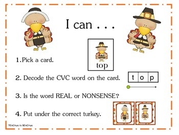 Turkey Nonsense CVC Sort