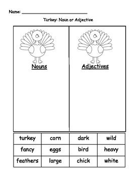 Turkey Nouns and Adjectives WS