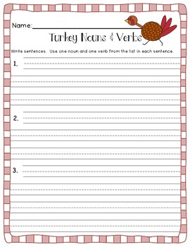 Turkey Nouns and Verbs Sort (Thanksgiving Themed)
