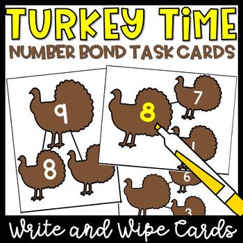 Number Bonds Task Cards- November Math Centers, Thanksgiving Activities