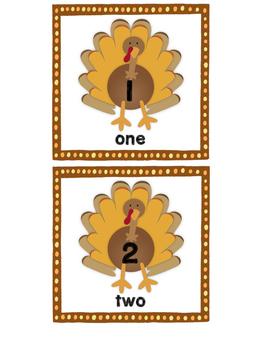 Turkey Number Cards 1-10