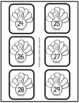 Turkey Number Flashcards 0-50