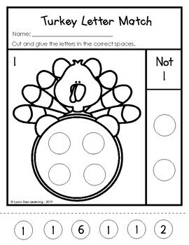 Turkey Number Match - Number Recognition Packet