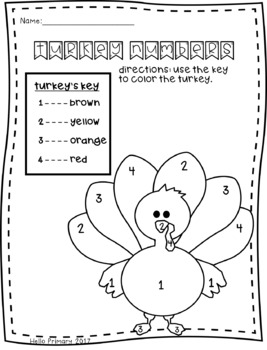 Turkey Number/Sight Word Coloring
