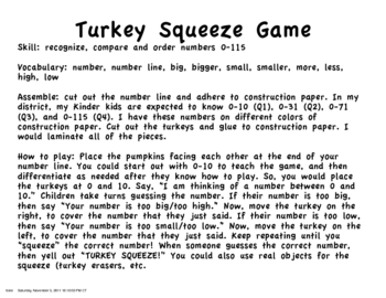 Turkey Number Squeeze 0-115