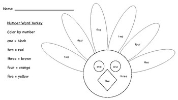 Turkey Number and Color words practice worksheets