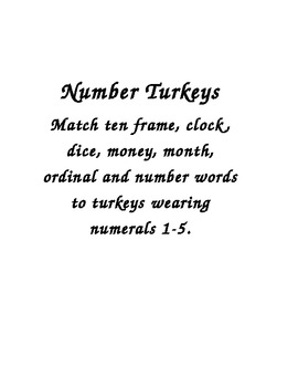 Turkey Numbers 1-5 Match Up