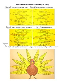 Turkey Numbers Art Collage, Place Value, Skip Counting and Number Words