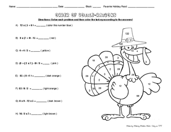 Two Turkey Color by Numbers- Order of Ops and Integers