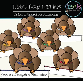 Turkey Page Headers - Digital Clipart