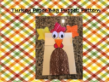 Turkey Paper Bag Puppet: Pattern