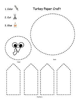 Pre-K Scissor Skills Turkey Paper Craft