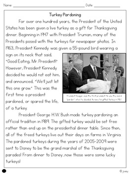 Turkey Pardoning - Close Reading Passage or Mix and Match Assessment Sample