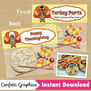 Turkey Parts / Happy Thanksgiving Treat Bag Topper / Ziplock Topper Toppers