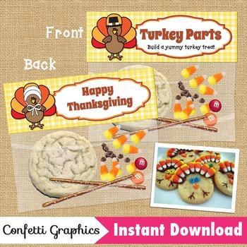 Turkey Parts / Happy Thanksgiving Treat Bag Topper / Ziplo