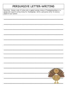Turkey Persuasive Text/Questions & Writing