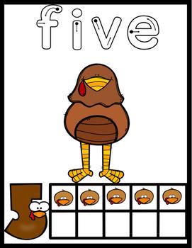 Turkey Playdough Number  Mats