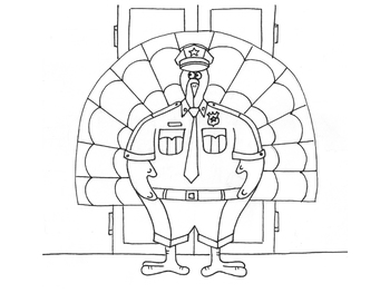 Turkey Policeman Disguise Coloring Page