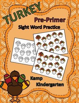Turkey Pre-Primer Sight Words Practice
