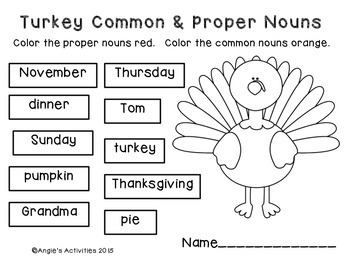 Turkey Proper Nouns and Common Nouns Freebie