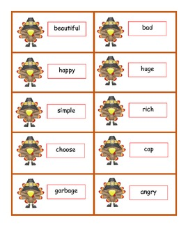 Turkey Puzzlers - A Puzzle Activity for 3 Language Skills