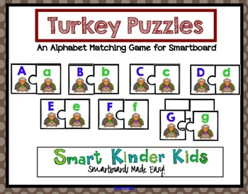 Thanksgiving Turkey Puzzles - An Alphabet Matching Game for the Smartboard