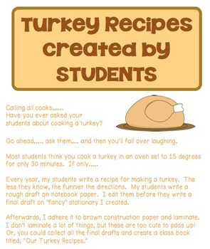 Turkey Recipes created by STUDENTS
