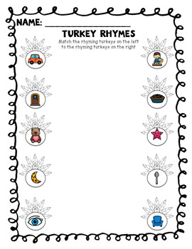 Turkey Rhyming Activities