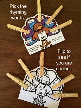 Phonics Activities: Turkeys Activity CVC Pick and Flip Rhyming Puzzles