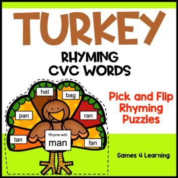 Phonics Activities: Turkeys Activity CVC Pick and Flip Rhy