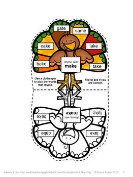 Turkeys Activity Silent e Words Pick and Flip Rhyming Puzzles: Phonics Activity