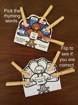 Turkeys Activity Silent e Words Pick and Flip Rhyming Puzzles: Phonics Activity
