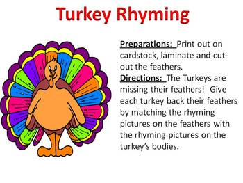 Turkey Rhyming - Thanksgiving Rhyming Fun!