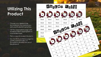 Turkey Roll Any Subject Review Game Thanksgiving Homework Worksheet