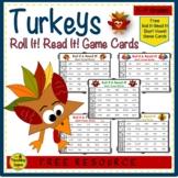 Turkey Roll It!  Read It! Short Vowel Word Game Cards {FREE}