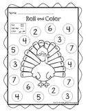 Turkey Roll and Color Worksheet - FREE!