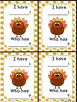 Turkey SH TH I Have Who Has (including blank cards)