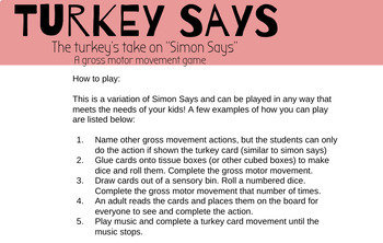 Turkey Says - A Gross Motor Movement Game