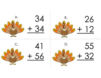 Turkey Scoot 2-digit Addition without Regrouping