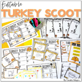 Turkey Scoot Write the Room Math and Literacy EDITABLE