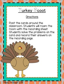 Thanksgiving Scoot Task Cards 2 Digit Addition Without Regrouping
