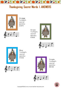 Thanksgiving Music: Treble and Bass Pitch Thanksgiving Music Activities