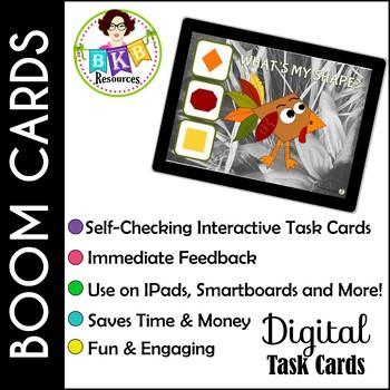 Fall Shape Turkey Match ● Digital Task Cards ● Boom Cards ● Identifying Shapes