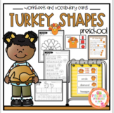 Turkey Shapes Worksheets and Vocabulary Cards