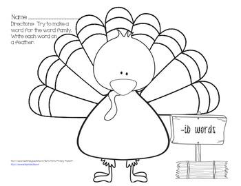 Turkey Short I Word Families