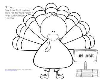 Turkey Short U Word Families