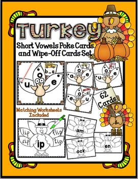 Turkey Short Vowel POKE Cards and Wipe-Off Activity Cards Set