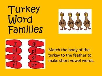 Turkey Short Vowel Word Family