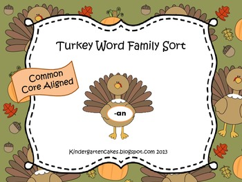 Turkey Short Vowel Word Family Sort